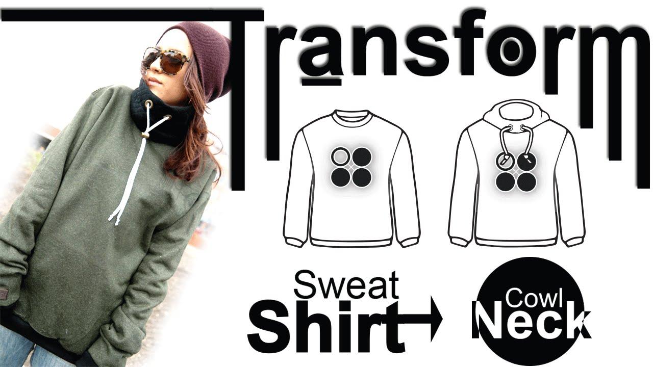 Easy DIY Transformation: Sweatshirt into Cowl Neck - YouTube
