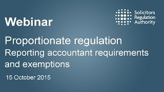 Proportionate regulation: reporting accountant requirements and exemptions r