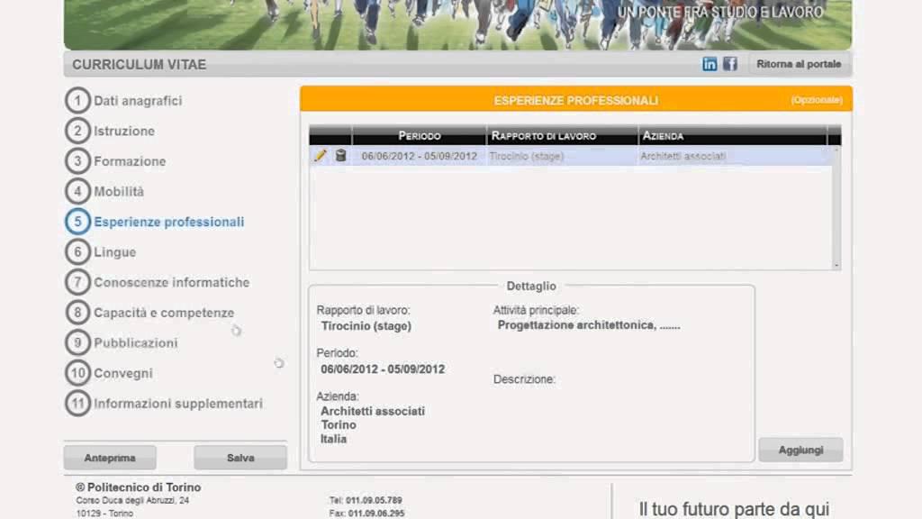Compilare Il Curriculum Vitae Online Youtube