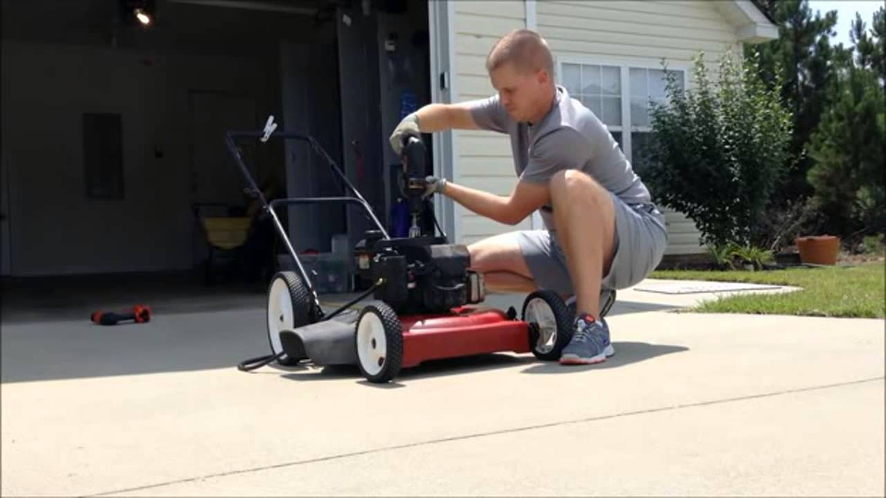 how to start a lawn mower with a drill