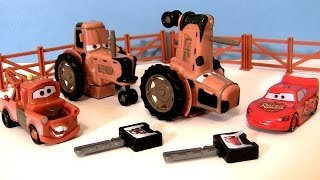 CARS Tractor Tipping Playset With Mater Lightning McQueen Hears Tractors Goes Moo Disney Pixar thumbnail