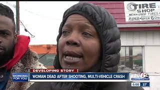 Woman dies after shooting, multi-vehicle crash on Indy's NW side