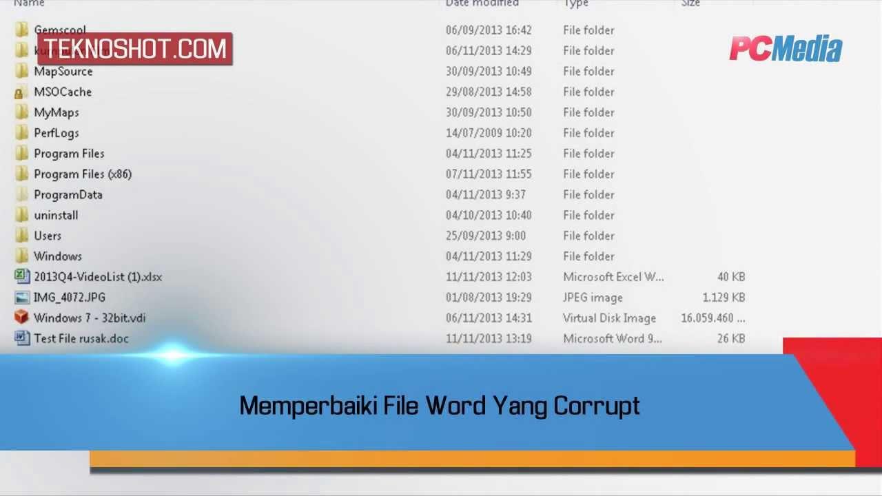 Memperbaiki File Word Yang Corrupt Tutorial By Pc Media Teknoshot
