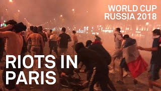 PARIS RIOTS with Police after France World Cup Win - raw & uncut footage - 2/2