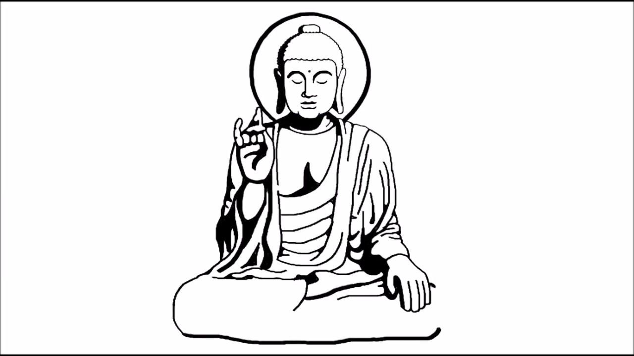 How to draw gautam buddha step by step