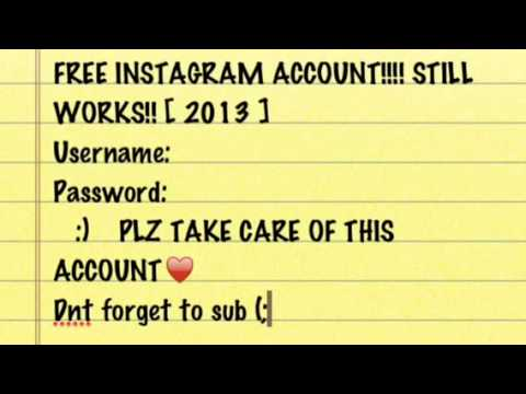 free instagram account username and password