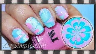Водный маникюр в домашних условиях  | Pastel Water Marble Nail Art - artsimplenail