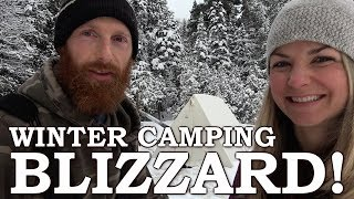 Overnight WINTER Camping wİth a GIRL | She SNARED a WILD Rabbit!