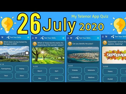 26 July 2020 My Telenor questions and Answers | Today My Telenor app Quiz |  26 Jul Test your skills - YouTube