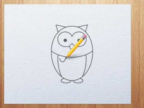 How to draw owl step by step tutorial youtube for Draw an owl in two steps