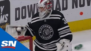 Kevin Lankinen Whips Water Bottle At Boards After Giving Up OT Goal To Panthers
