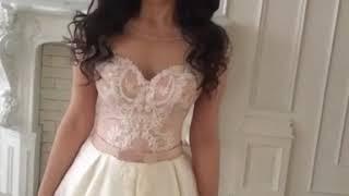 Дизайнерское атласное свадебное платье 2019 со шлейфом TM GOLANT