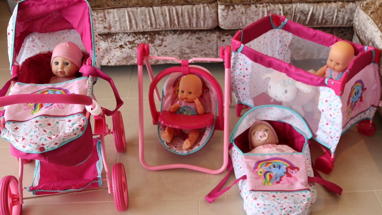 3 In 1 Prams Cheap My Little Pony Baby Doll Nursery Centre Playpen Highchair