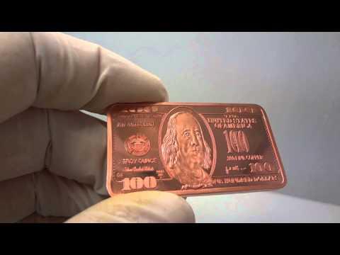 1 troy oz copper $100 dollar bill bullion bar .999 fine by Atlantis Mint