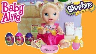 Baby Alive Ovos Shopkins - Comendo Papinha Trocando Fraldinha Brinquedos Kids.