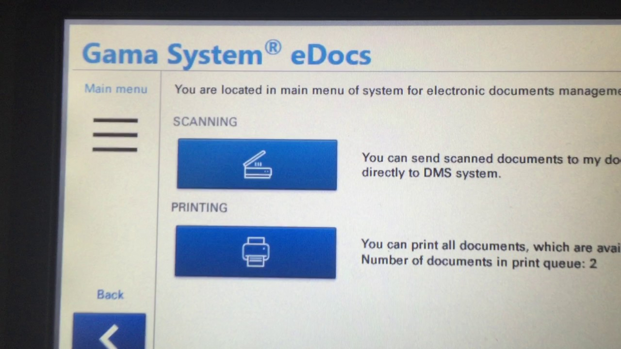 Kyocera, Card login, Scanning to My Documents in Gama System eDocs