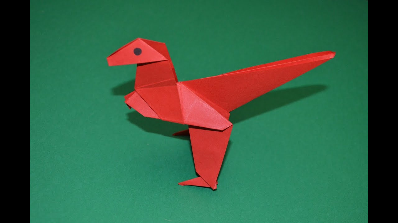 Como hacer un dinosaurio de papel | Velociraptor - YouTube - photo#35