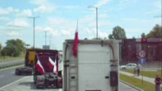 xvi zlot trakerski w krakowie 7 06 09r nasz przejazd ciężarwkami scania v8 r500 i r440