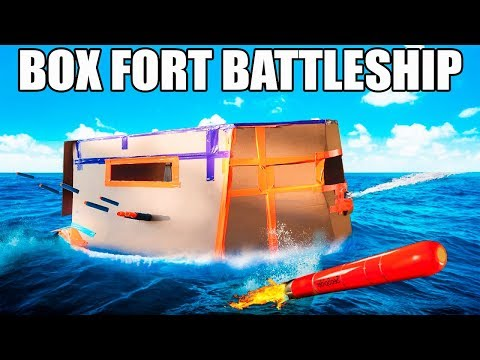 FLOATING BOX FORT BATTLESHIP!!  TORPEDO, REMOTE CONTROLLED NERF GUNS, SMOKE SCREEN & MORE!