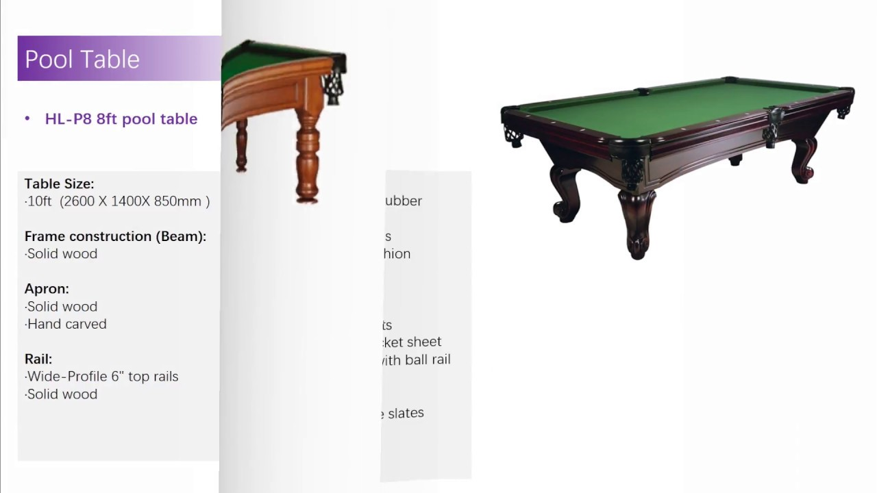 Brochure Of Chinese Snooker Table Pool Billiards Manufacturer Huanli