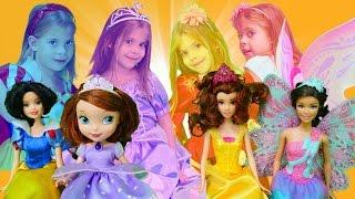 Видео для детей. Куклы для девочек: Принцесса София, Королева фей, Белоснежка. Игры для девочек
