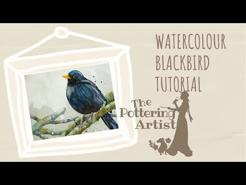How to paint a watercolor blackbird, painting birds in watercolor