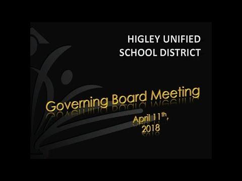 HUSD Governing Board Meeting April 11, 2018