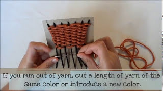 Weaving on a cardboard loom. Lesson no. 1