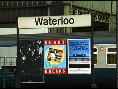 WATERLOO STATION-platforms and trains, new type advertising post