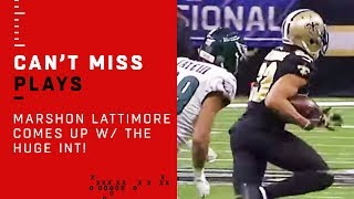 Marshon Lattimore Comes Up w/ The HUGE INT!