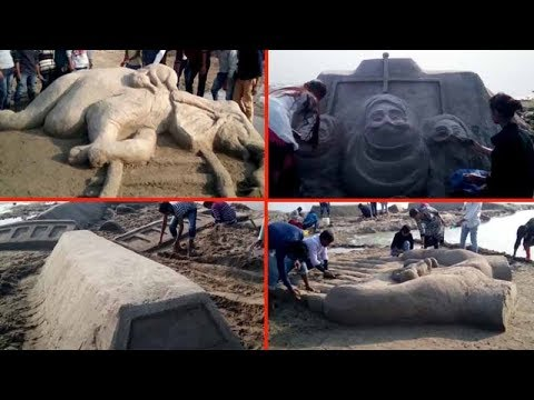 Varanasi: Banks of the Ganga turn a giant canvas for sand artists
