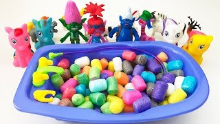 Bathing Little Ponies Trolls Animals in Colorful Corn Interesting video for Children Songs for Kids