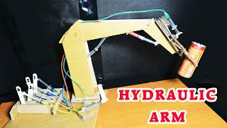 How To make Hydraulic Powered Robotic Arm from card boad