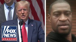 Trump invokes George Floyd's name while celebrating job numbers