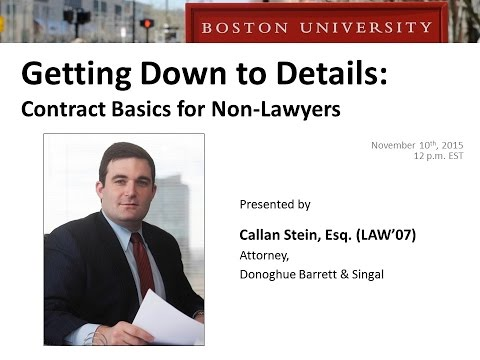 Getting Down to Details: Contract Basics for Non Lawyers
