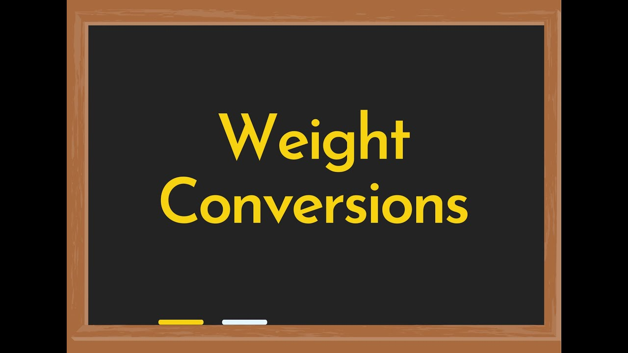 Weight Conversion Calculator Youtube