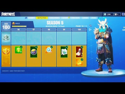 New Season 5 Max Battle Pass Tier 100 Unlocking Fortnite Battle