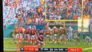 Browns kicker Pankey misses game winning field goal against Miami Dolphins