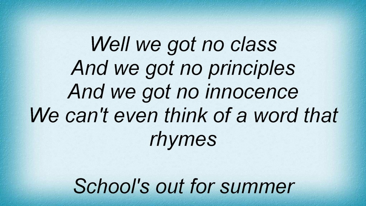 248ba322392e Ac Dc - School s Out For Summer Lyrics - YouTube