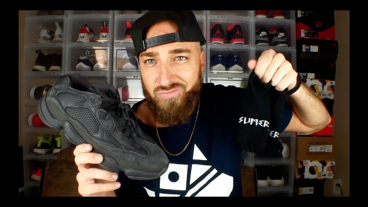 1ecca54743e Yeezy 500 Utility Black Review   On Feet! + The Best Socks You ll Ever  Wear!!