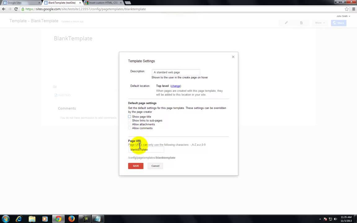 Google Sites Create A Blank Page Template Youtube
