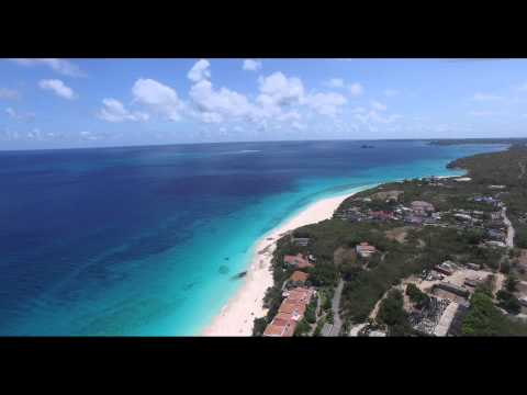 DJI Phantom 3 Drone flying over Meads Bay, West End in Anguilla, Caribbean