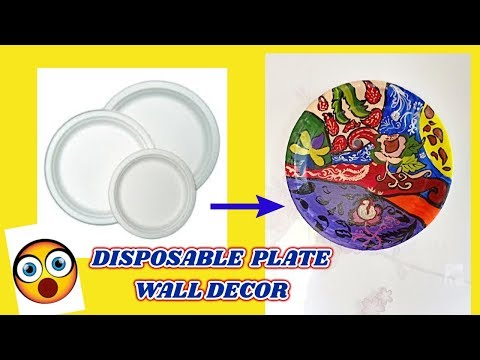 DIY wall decor from disposable plates   Best out of waste   Reuse paper plates