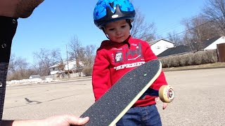 2 Year Old Gets His First Skateboard!