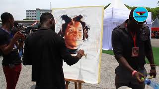 Ebony's funeral: Fan does a live painting of late dancehall artiste