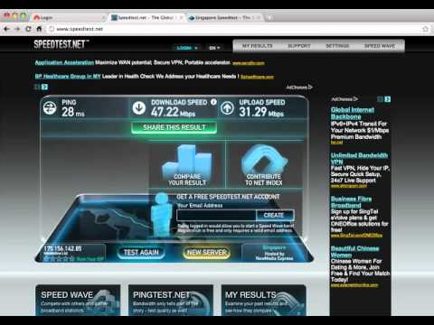 Singapore M1 Residential 100Mbps Fibre Speedtest - YouTube