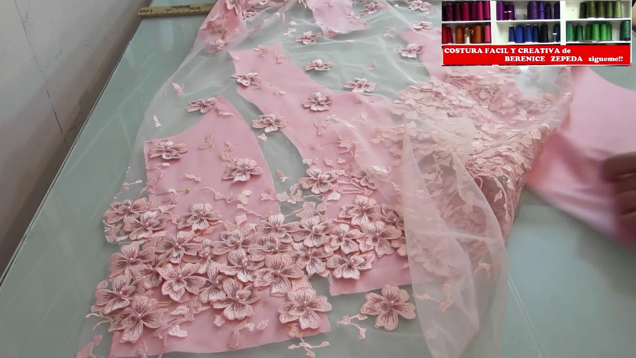 Cortar Encaje 3 D Para Vestido Xv Años 2 Lace 3 D Embroidery Cut Dress Xv Or Prom