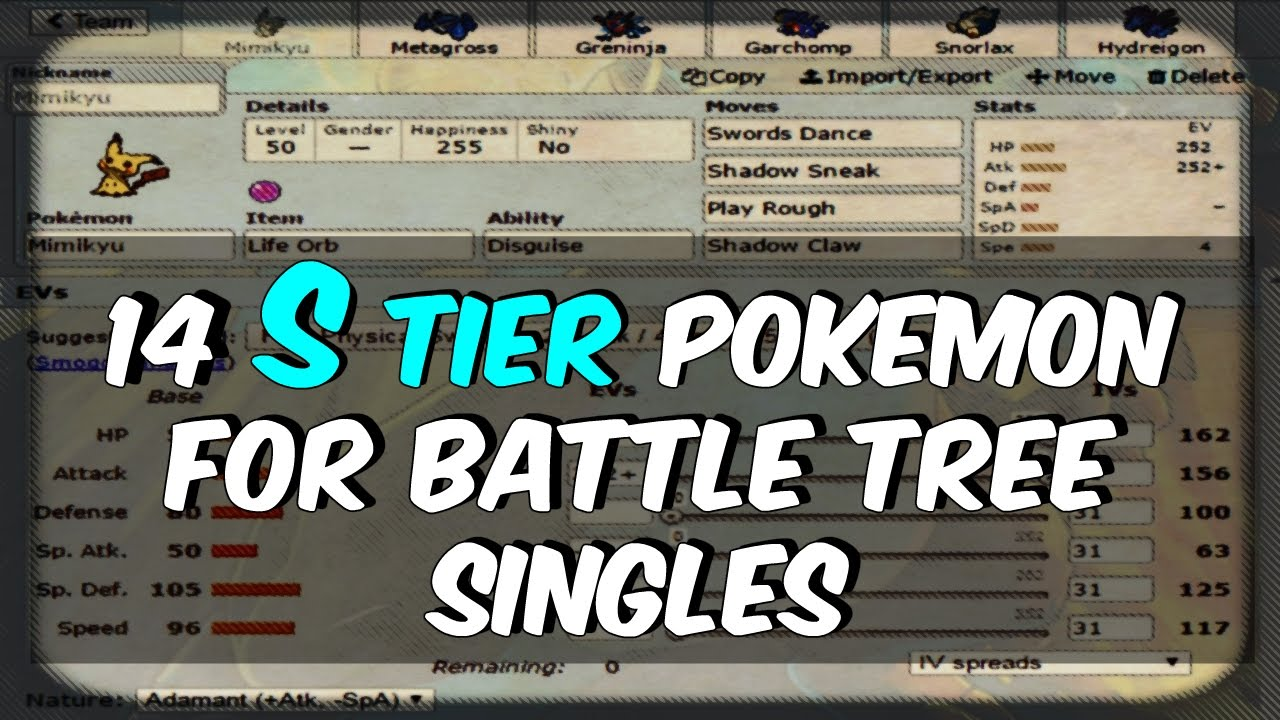 BATTLE TREE GUIDE - 14 S-TIER POKEMON FOR SINGLES - Pokemon Sun and Moon