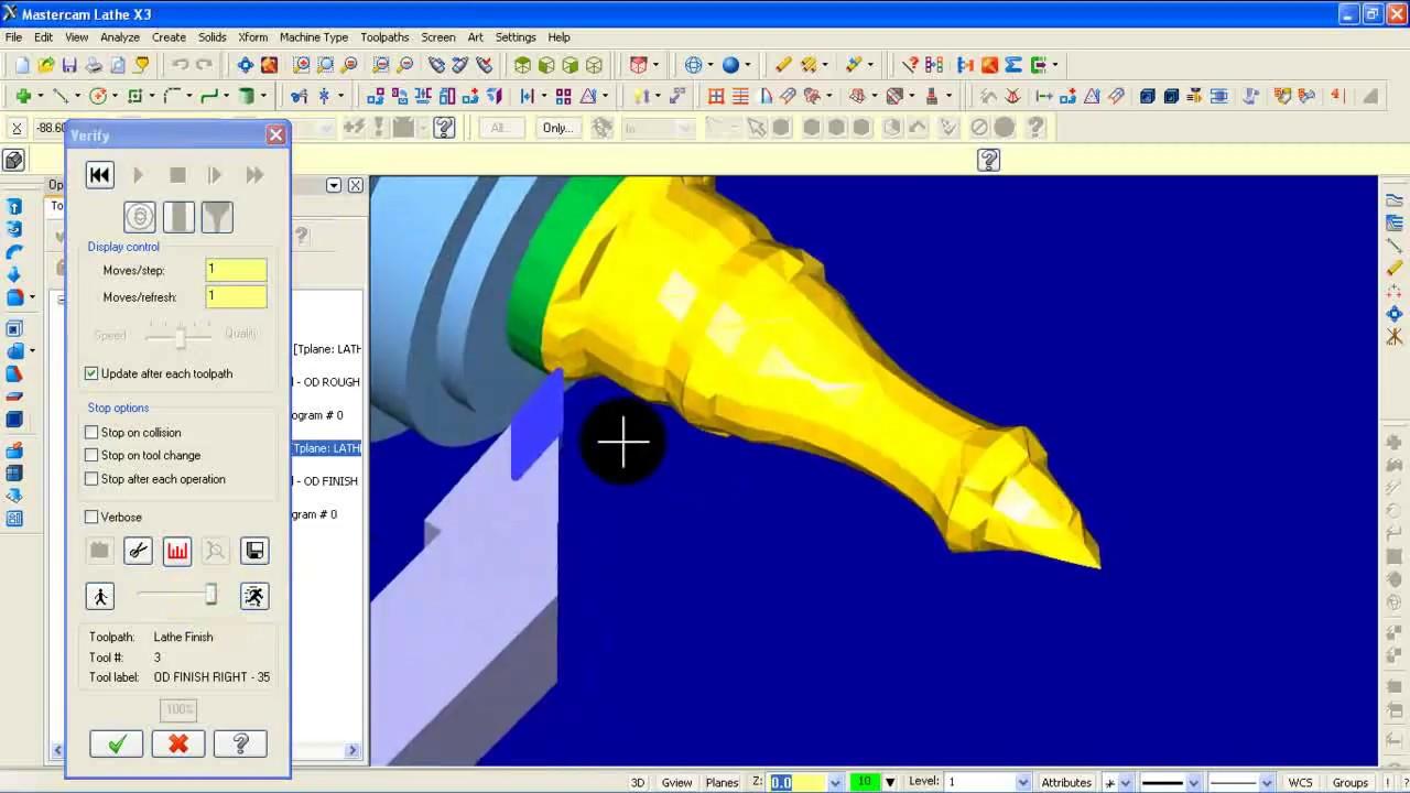 tutorial mastercam x3 lathe toolpath youtube Mastercam Lathe Programming Import Mastercam Lathe Solid
