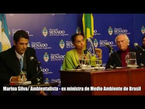 Pino Solanas con Marina Silva /Desarrollo sostenible, desafíos en America Latina
